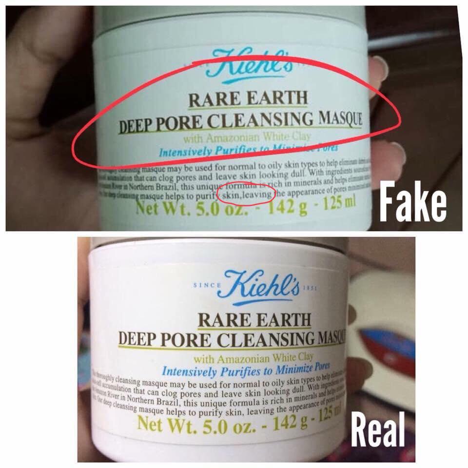 Phân biệt mặt nạ đất sét  Kiehl's Rare Earth Deep Pore Cleansing Masque giả